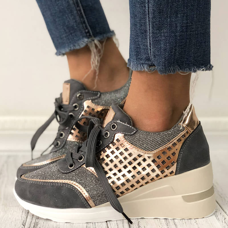 Women Trendy Splice Lace-up Wedge Heel Sneakers