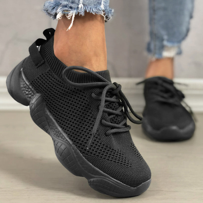 Women Mesh Fabric Lace Up Breathable Round Toe Casual Sneakers