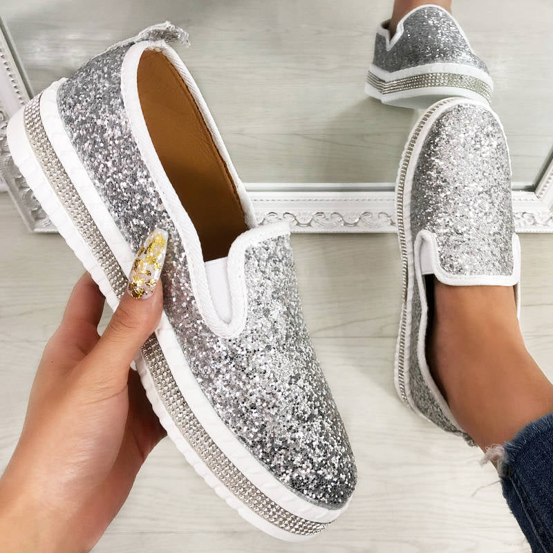 Women Fashion Shining Paillette Rhinestone Slip On Platform Loafers