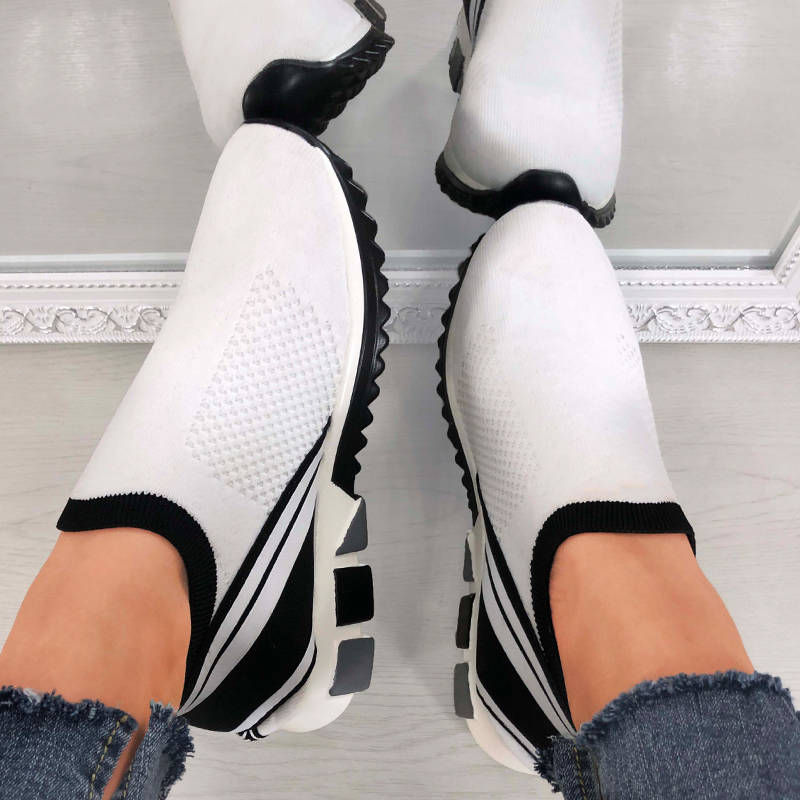 Women Casual Large Size Flyknit Fabric Hit Color Sneakers