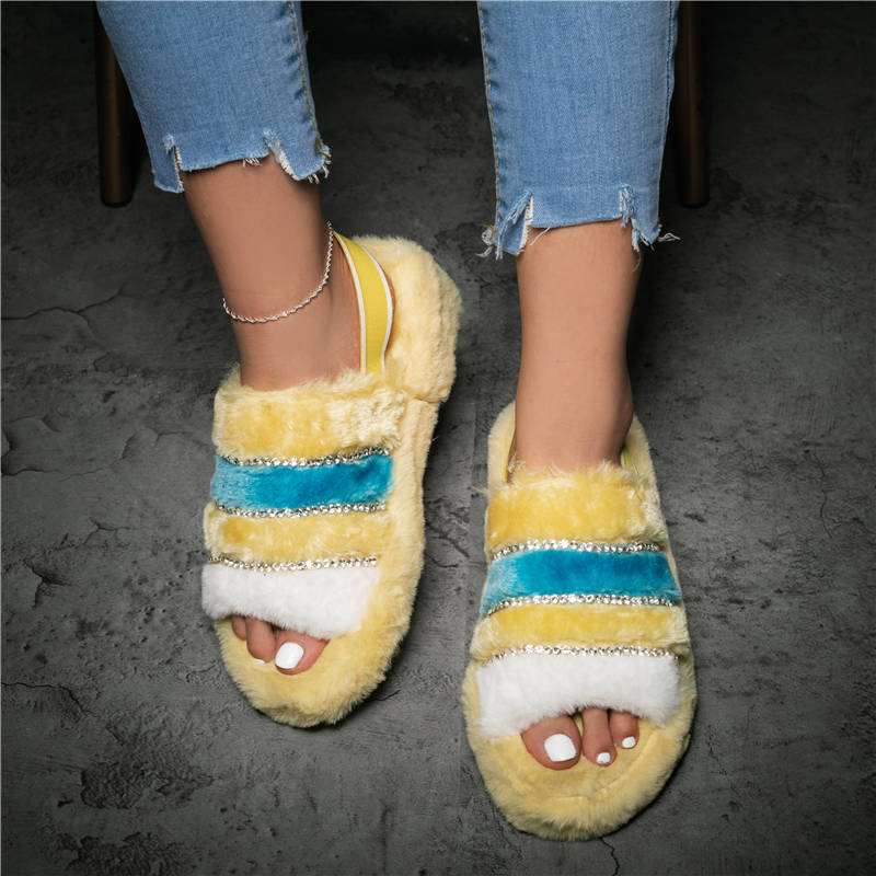 Women Comfy Fluffy Fur Cuty Hit Color Open Toe Slip On Sandals