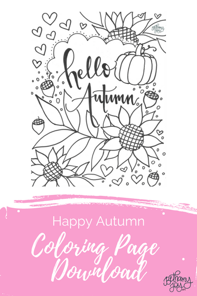 Happy Autumn Coloring Page Printable!