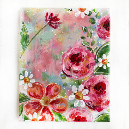New Spring Floral Mixed Media Painting on 8x10 inch canvas - Bethany Joy Art