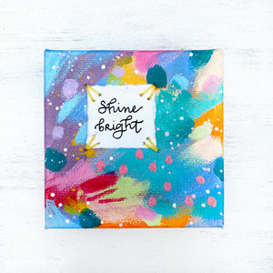 Shine Bright 4x4 inch original abstract canvas with embroidery thread accents - Bethany Joy Art