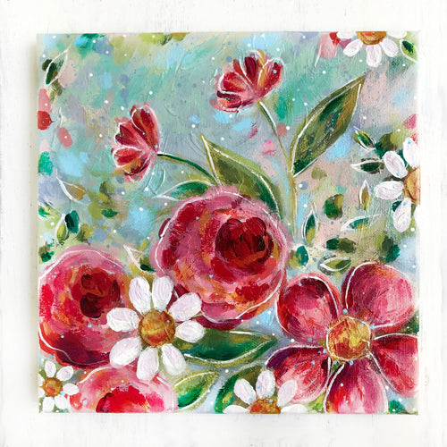 New Spring Floral Mixed Media Painting on 10x10 inch canvas - Bethany Joy Art