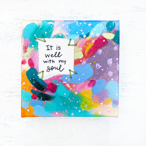It is Well with my Soul 4x4 inch original abstract canvas with embroidery thread accents - Bethany Joy Art