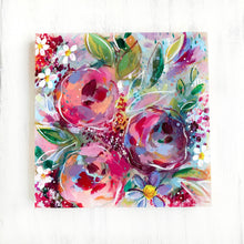 Load image into Gallery viewer, New Spring Floral Mixed Media Painting on 8x8 inch wood panel no.7 - Bethany Joy Art