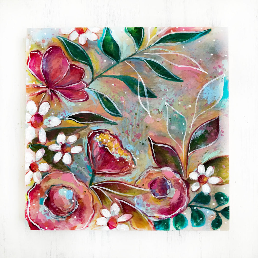 New Spring Floral Mixed Media Painting on 8x8 inch wood panel no.8 - Bethany Joy Art