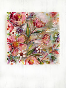 New Spring Floral Mixed Media Painting on 8x8 inch wood panel no.9 - Bethany Joy Art