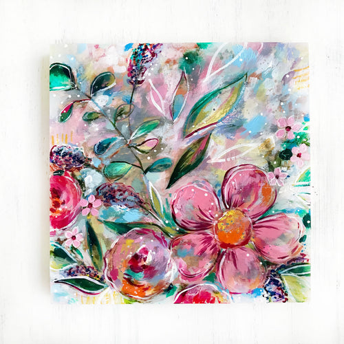 New Spring Floral Mixed Media Painting on 8x8 inch wood panel no.10 - Bethany Joy Art