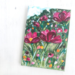 """Wildflower Garden 1"" 5x7 inch Original Floral Painting on Canvas - Bethany Joy Art"