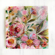 Load image into Gallery viewer, New Spring Floral Mixed Media Painting on 8x8 inch wood panel no.2 - Bethany Joy Art