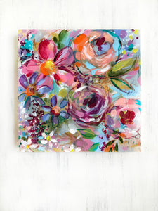 New Spring Floral Mixed Media Painting on 8x8 inch wood panel no.4 - Bethany Joy Art