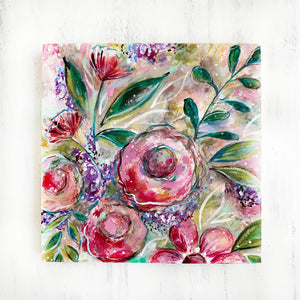 New Spring Floral Mixed Media Painting on 8x8 inch wood panel no.5 - Bethany Joy Art