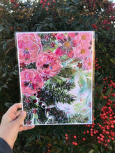 "Load image into Gallery viewer, ""Christmas Floral"" 8.5x11 inch Art Print Holiday Home Decor - Bethany Joy Art"