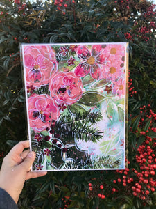"""Christmas Floral"" 8.5x11 inch Art Print Holiday Home Decor - Bethany Joy Art"