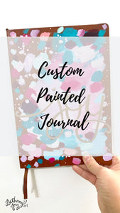Custom Painted Journal/Sketchbook - 128 Blank Pages - Choose your colors + word(s)