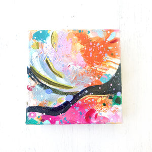 "Abstract Original Painting ""Golden Sunlight"" 4x4 inch Gallery Wrapped Canvas - Bethany Joy Art"