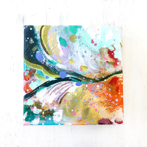"Abstract Original Painting ""Shimmering Skies"" 4x4 inch Gallery Wrapped Canvas - Bethany Joy Art"