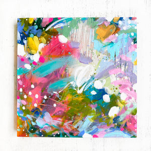 """May Your Home Know Joy"" Abstract Original Painting on 8x8 inch Wood Panel - Bethany Joy Art"