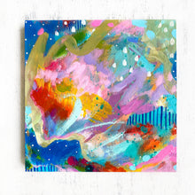 "Load image into Gallery viewer, ""Let's Stay Home"" Abstract Original Painting on 8x8 inch Wood Panel - Bethany Joy Art"