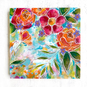 """Always Welcome at Home"" Floral Original Painting on 8x8 inch Wood Panel - Bethany Joy Art"