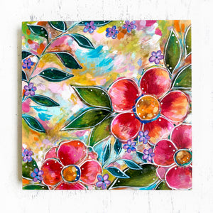"""Bless this Home"" Floral Original Painting on 8x8 inch Wood Panel - Bethany Joy Art"