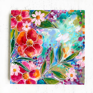 """Home is my Happy Place"" Floral Original Painting on 8x8 inch Wood Panel - Bethany Joy Art"
