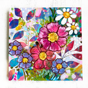 """A Joy-Filled Home"" Floral Original Painting on 8x8 inch Wood Panel - Bethany Joy Art"