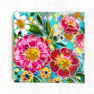 """Create a Happy Home"" Floral Original Painting on 8x8 inch Canvas - Bethany Joy Art"