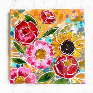 """No Place Like Home"" Floral Original Painting on 8x8 inch Canvas - Bethany Joy Art"