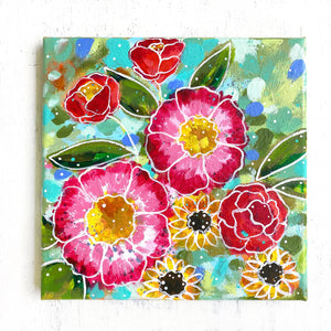 """Home Made of Love"" Floral Original Painting on 8x8 inch Canvas - Bethany Joy Art"
