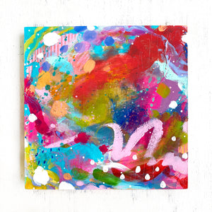 """A Love-Filled Home"" Abstract Original Painting on 8x8 inch Wood Panel - Bethany Joy Art"