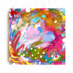 """With You, I am Home"" Abstract Original Painting on 8x8 inch Wood Panel - Bethany Joy Art"