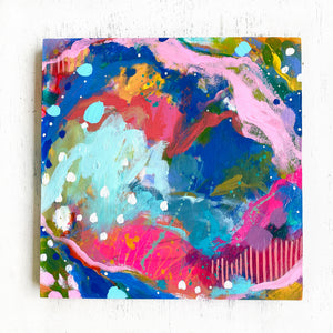 """Home Sweet Home"" Abstract Original Painting on 8x8 inch Wood Panel - Bethany Joy Art"