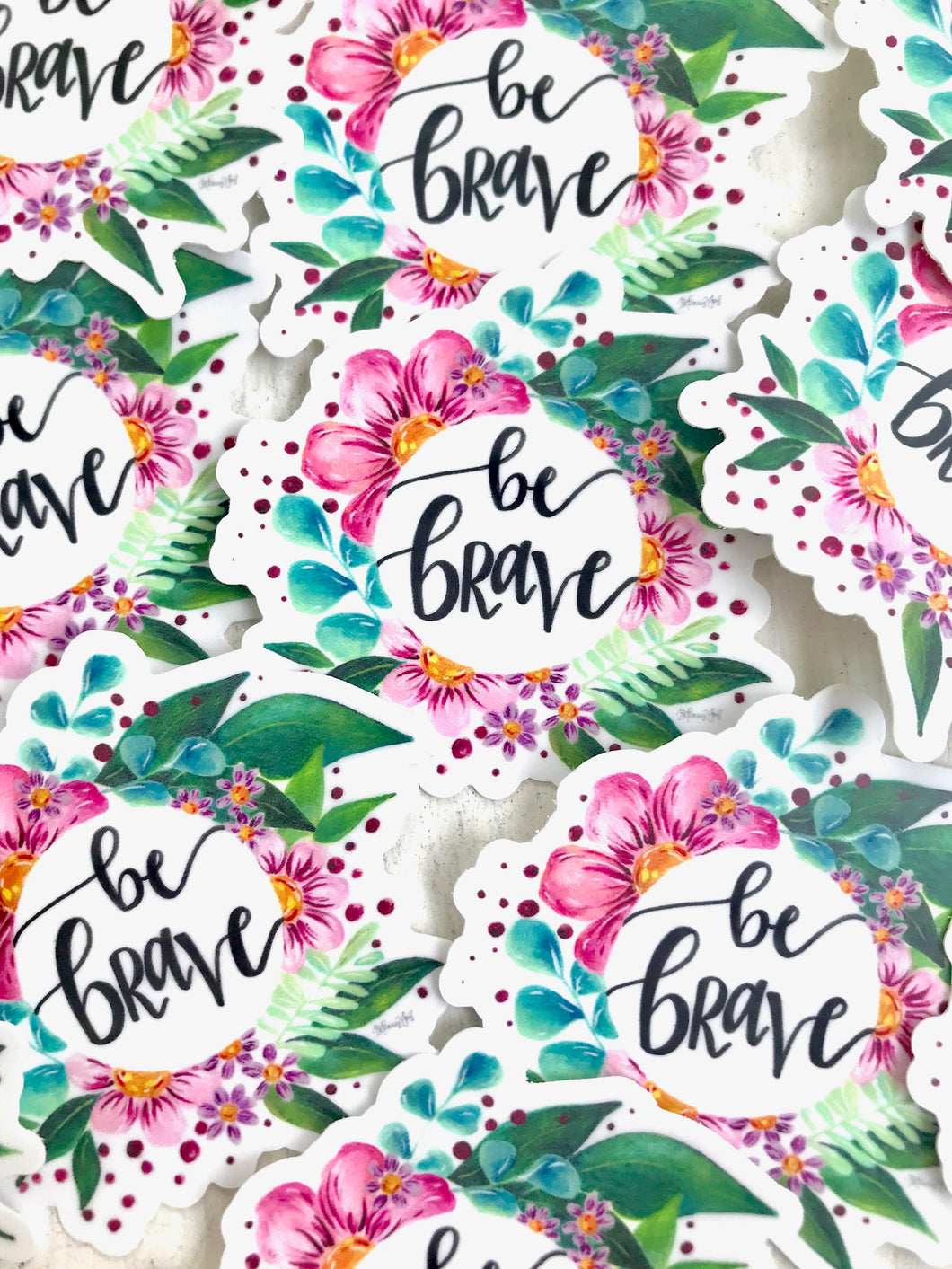 Be Brave Floral Vinyl Sticker - Bethany Joy Art