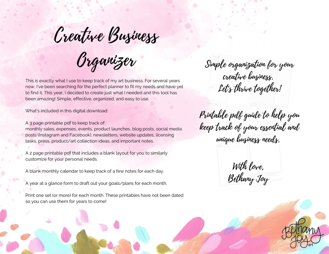 Creative Business Monthly Organizer Digital Download
