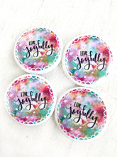 Load image into Gallery viewer, Live Joyfully Buttons/Pins Pack of 2 or 4 - Bethany Joy Art