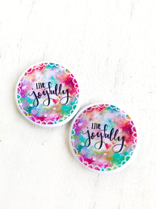 Live Joyfully Buttons/Pins Pack of 2 or 4 - Bethany Joy Art