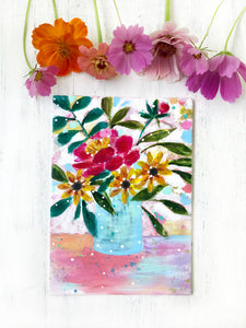 "August Daily Painting Day 18 ""Sweeter than Honey"" 5x7 inch Floral Original - Bethany Joy Art"