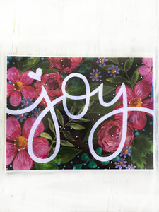 """Joy"" Floral Inspirational 8.5x11 inch Art Print - Bethany Joy Art"