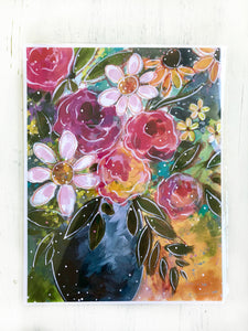 """Falling for You Bouquet"" Autumn Floral 8.5x11 inch Art Print - Bethany Joy Art"