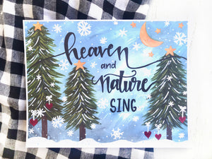"""Heaven and Nature Sing"" Christmas 11x8.5 inch Art Print Holiday Home Decor - Bethany Joy Art"