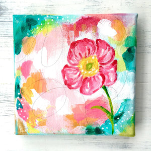 Vibrant Pink Flower Original Painting on 5x5 inch Canvas - Bethany Joy Art