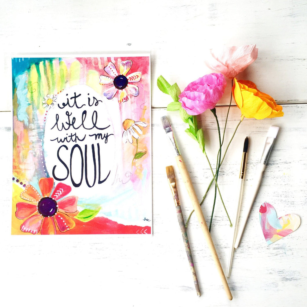 It is Well with my Soul Inspirational Art Print 8.5 x 11 inches - Bethany Joy Art