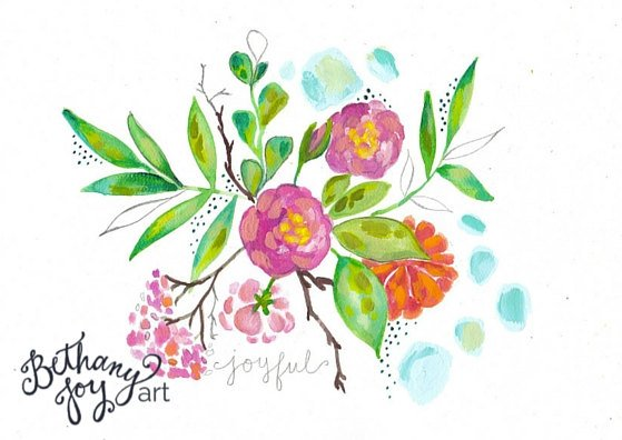 Floral Mixed Media Art: