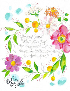 "Floral Mixed Media Art: ""Sunshine Floral"" 8.5x11 inch print - Bethany Joy Art"