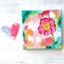Load image into Gallery viewer, Vibrant Pink Flower Original Painting on 5x5 inch Canvas - Bethany Joy Art