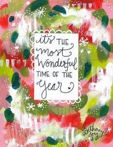 "Christmas Art Print: ""Most Wonderful Time of the Year"" 8.5x11 inch Art Print / Christmas Wall Decor / Christmas Art / Christmas Gift - Bethany Joy Art"