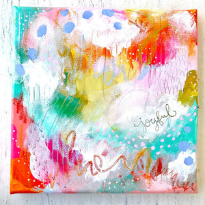 "Mixed Media Original Painting: ""Joyful Love 1"" 8x8 inch canvas - Bethany Joy Art"